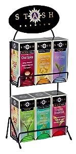 Stash Tea 6 Flavor Teas 30 Count Tea Bags in Foil with Display Rack Individual Tea Bag Variety Pack, Use in Teapots Mugs or Cups, Brew Hot Tea or Iced Tea