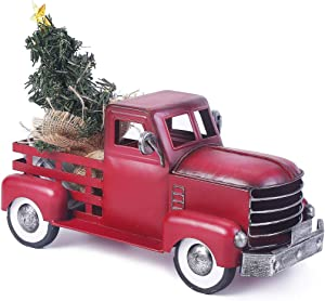 Vintage Red Truck Christmas Decor with a Lit-up Removable Christmas Tree Wrapped Around by LED Lights String, Farmhouse Metal Pickup Truck Decor, Great Gift for Holiday Decorations (Small Size)