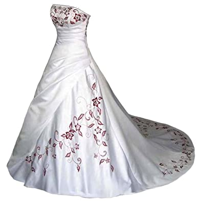 Faironly White Satin Red Embroidery Strapless Wedding Dress XS