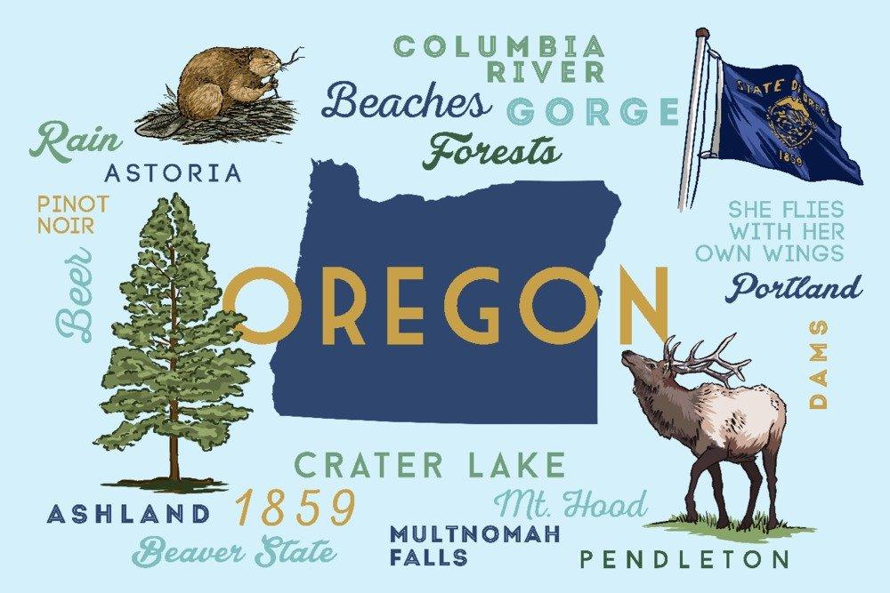 オレゴン – Typographyとアイコン 36 x 54 Giclee Print LANT-76979-36x54 B01MPW04U6  36 x 54 Giclee Print