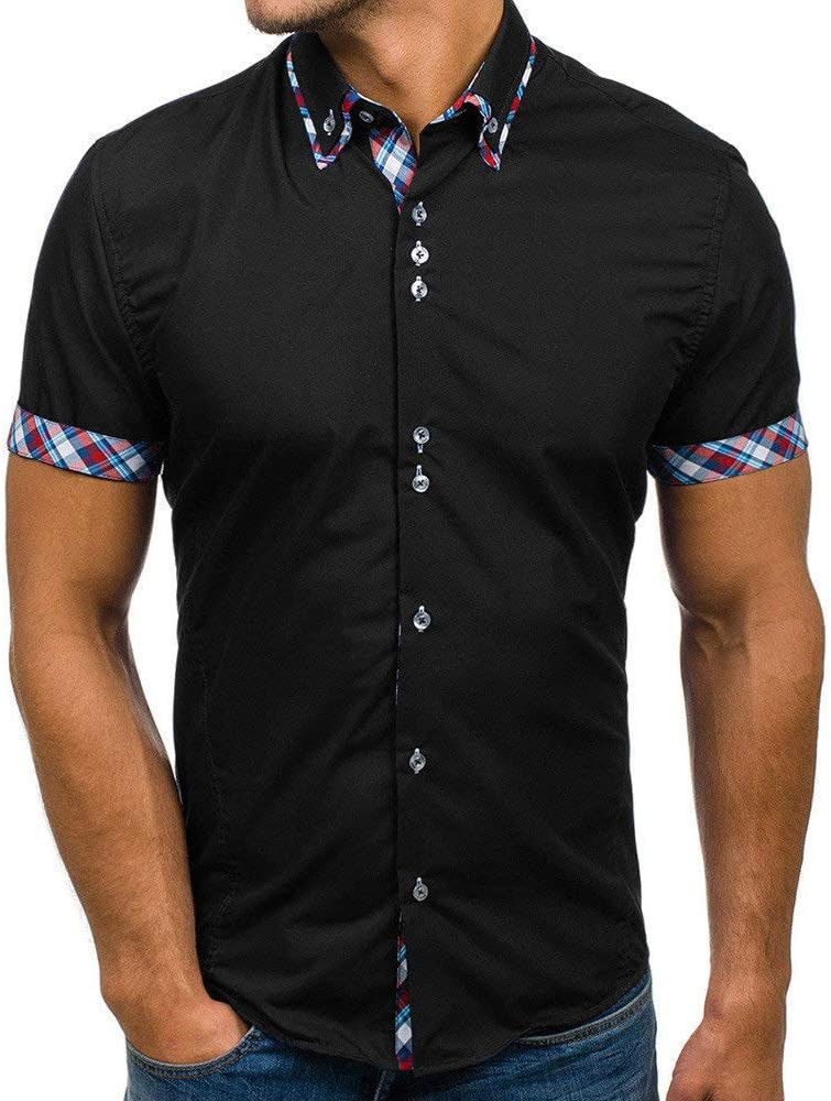 POLP Polo para Hombre Mangas Corta Denim Costura Camisas Algodón Slim Fit Camiseta Golf Poloshirt T-Shirt Oficina Botón Cuello Casual Camiseta de Hombre Blusa M-XXXL: Amazon.es: Ropa y accesorios