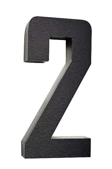 número de casa/acero inoxidable nº 2/H20 cm/Diamante de ...