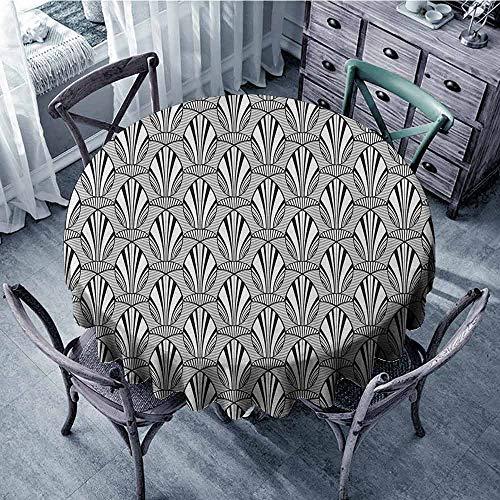 - ScottDecor Dining Round Tablecloth Fabric Tablecloth Geometric,Monochrome Line Art Illustration Curved Pattern Grunge Spirals Vintage Design, Black White Diameter 50