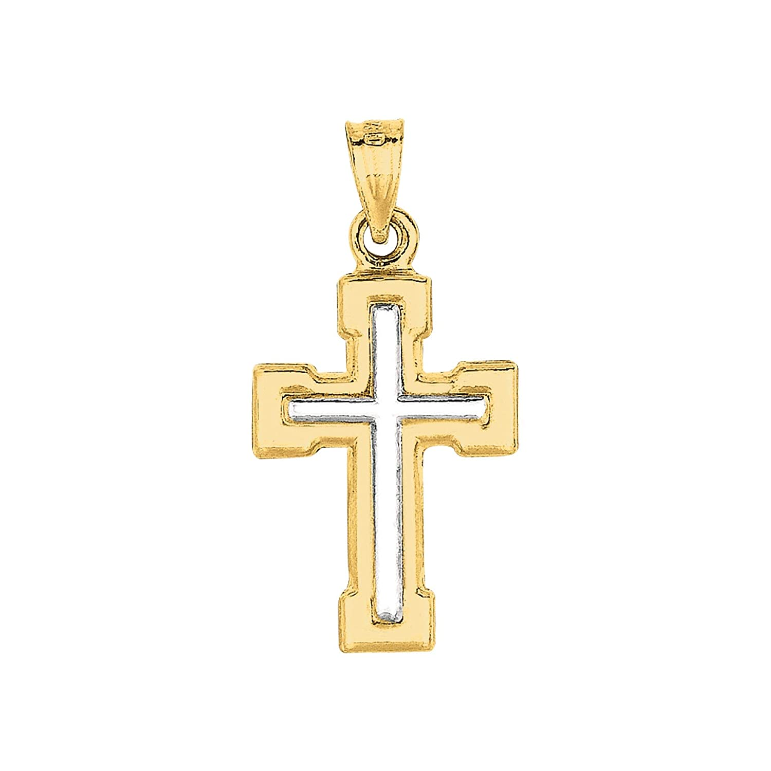 14K Yellow /& White Gold Shiny Small White Cross Pendant in Yellow Cross by IcedTime