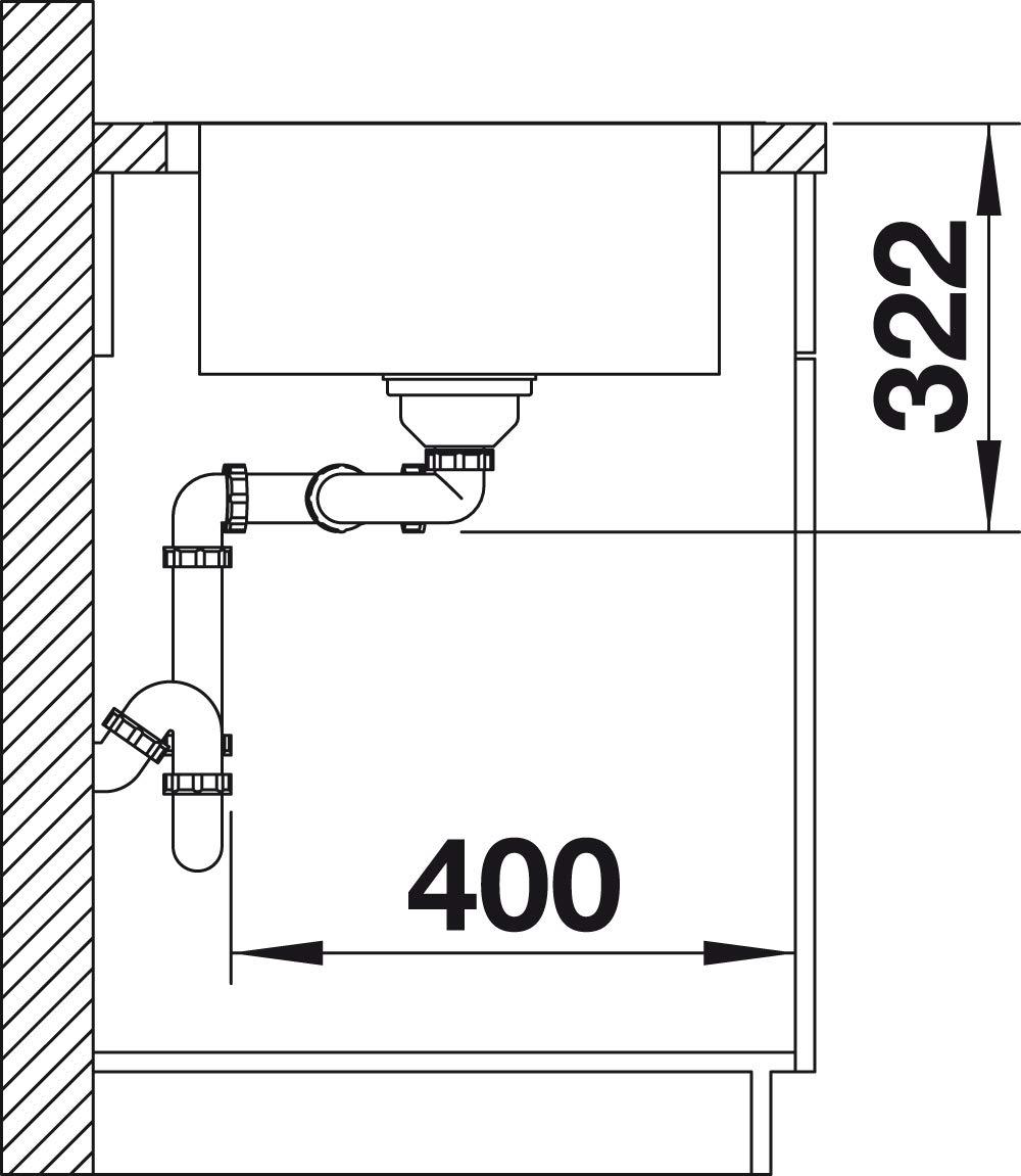 Blanco 525114 LEMIS 45 S-IF Mini K/üchensp/üle Edelstahl B/ürstfinish 45 cm Unterschrank