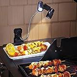 Grill Luce, lampada a griglia per barbecue, lampada a LED senza fili, luce del lavoro, luci esterne, clip su 6 LED ultra luminosi, regolabile a 360 °