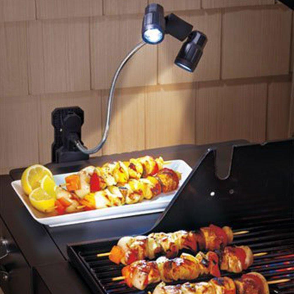 Gooseneck Grill Light, BBQ Grill lamp, Wireless work lamp, Clip on, 6 Ultra-Bright LED, 360° Adjustable