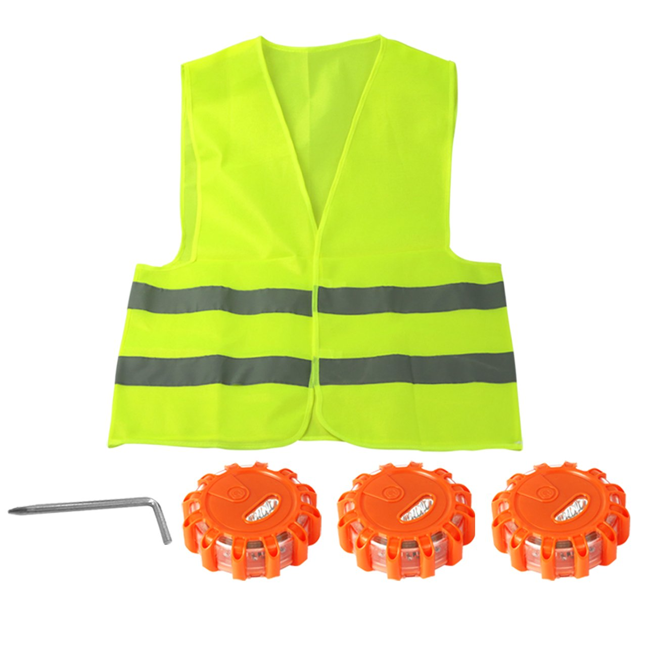 3 Pack LED Road Flares Flashing Warning Light Roadside Flare Emergency Disc Beacon,Magnetic Base for Car Including a convenient storage bag, a Screwdriver and a Reflective Vest. Without AAA Batteries