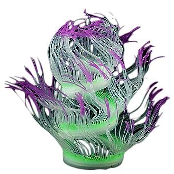 Topker Acuario de Silicona de 50 cm Fluorescente Artificial Coral Anemone Soft Plant Pescados de la decoración del Tanque no tóxico Colorido: Amazon.es: ...