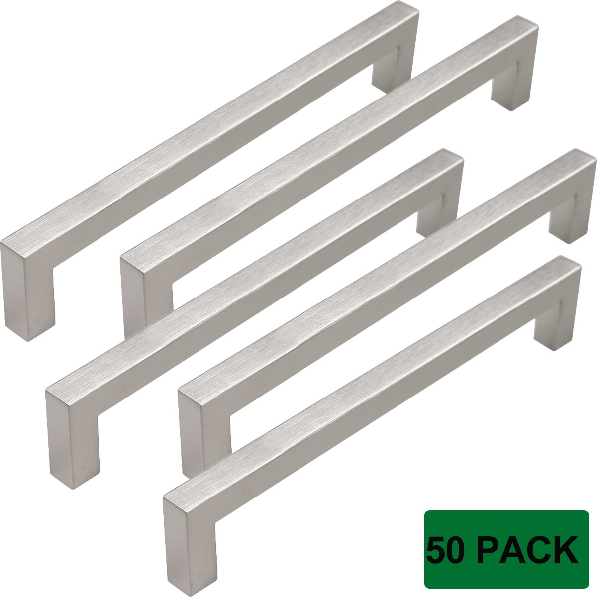 Probrico Brushed Nickel Square Bar Kitchen Cupboard and Dresser Door Handles and Pulls 7-9/16'' Hole Spacing, 50 Pack
