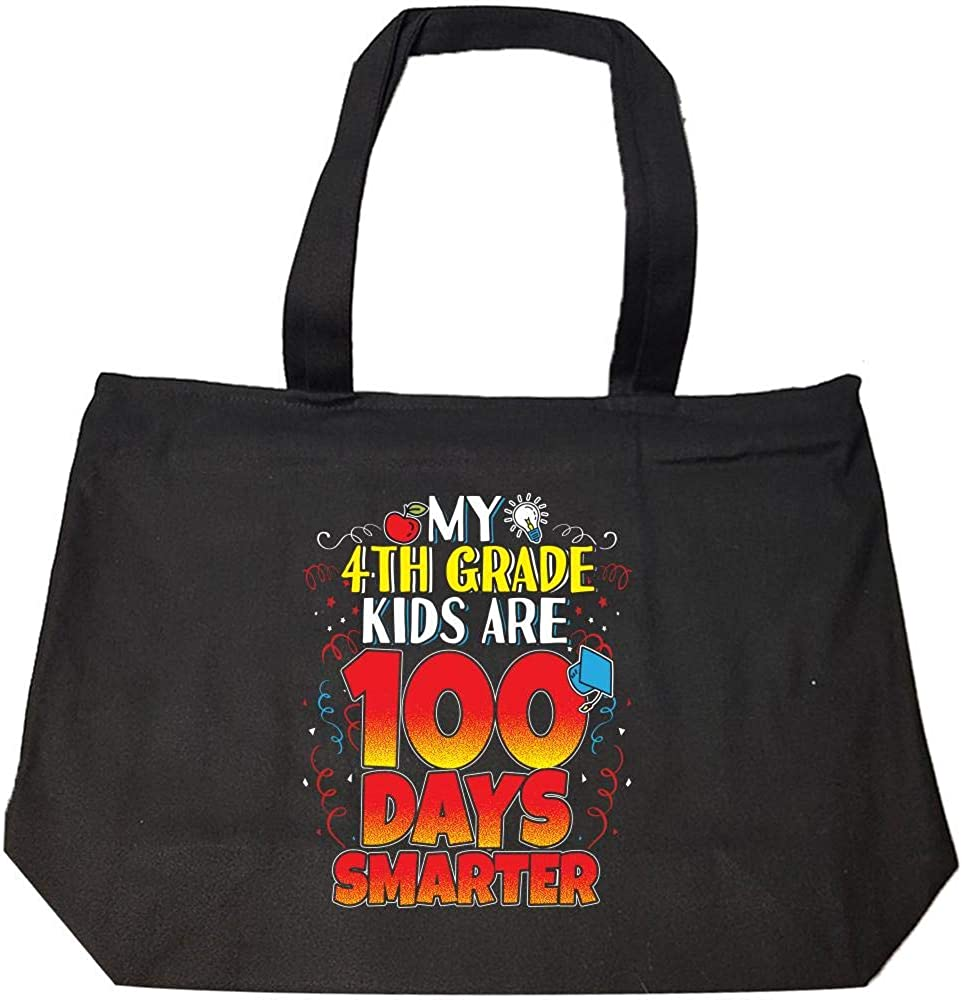 Fashion Zip Tote Bag My 4th Graders Are 100 Days Smarter Teacher Gift For Your Favorite Teachers