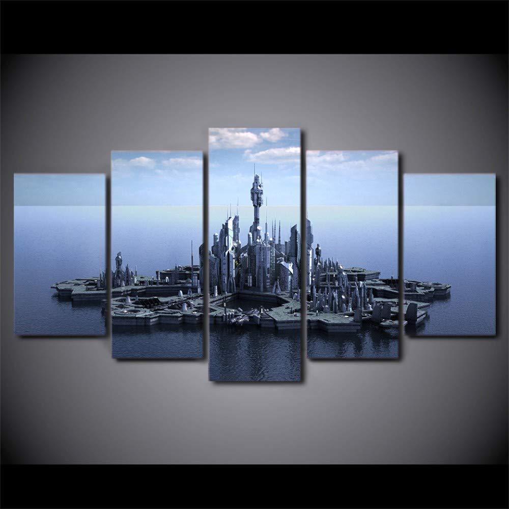 UGHJB Hd Gedruckt 5 Stück Leinwand Kunst Stargate Atlantis Leinwandbilder Wandbilder Für Wohnzimmer Moderne-A