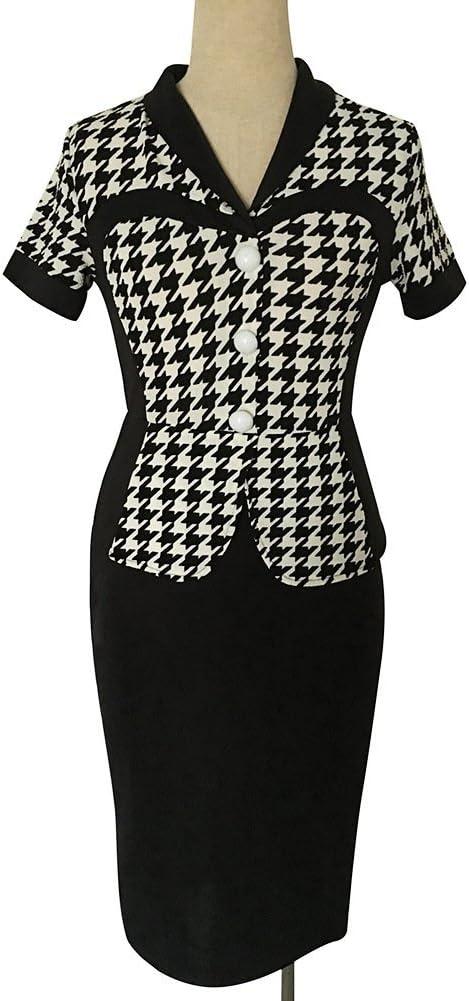 Minetom elegancka damska sukienka koktajlowa z dekoltem w kształcie litery V, rozciągliwa sukienka biznesowa: Odzież