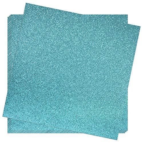 Crafasso 12 x 12 300gms Heavy & Premium Glitter cardstock, 15 Sheets, Steel Blue