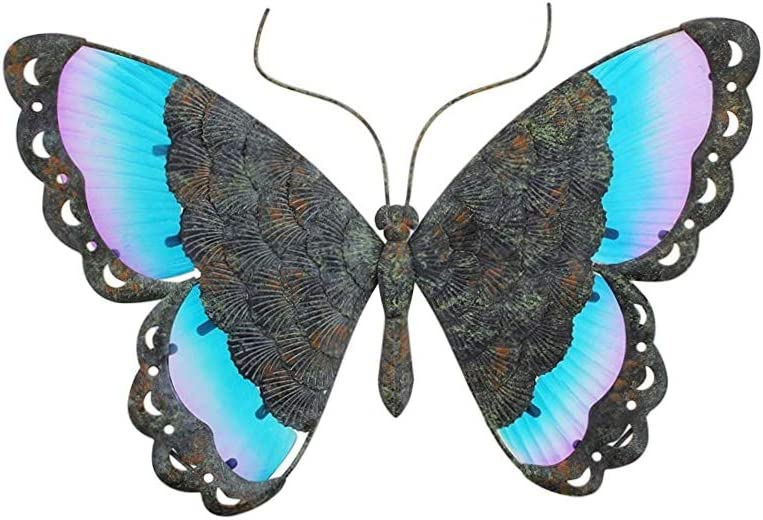 Colorful Metal Butterfly Wall Decor (Patina Blue)