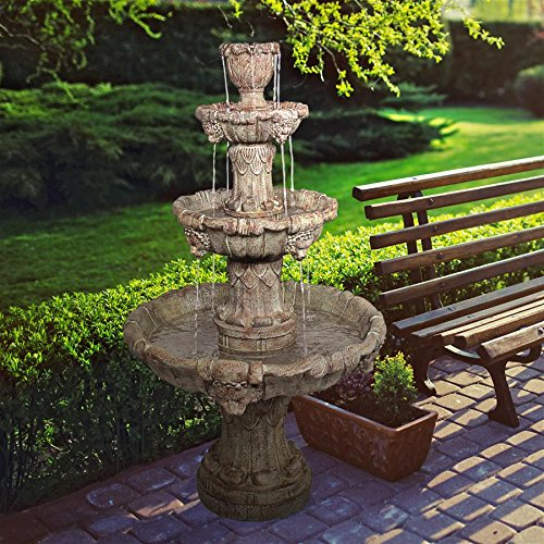 Water Fountain - Nearly 5 Foot Tall Medici Lion Four Tier Garden Decor Fountain: Brown Stone Finish - Outdoor Water Feature Cast Stone Outdoor Water Fountain