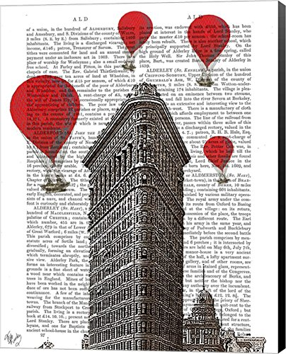 Flat Iron Building and Red Hot Air Balloons by Fab Funky Canvas Art Wall Picture, Museum Wrapped with Black Sides, 24 x 30 inches