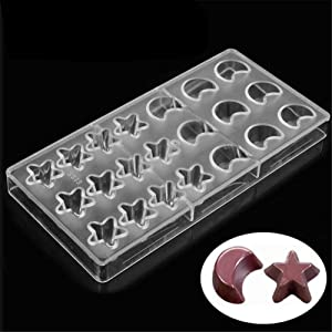24 Holes Moon & Star Shape Polycarbonate Chocolate Mold 3D Chocolate Making Molds DIY PC Jelly Candy Pudding Moulds Chocolate Bar Maker Mold Tray Non Stick Ice Cube Trays Pastry Baking Bakeware Pan