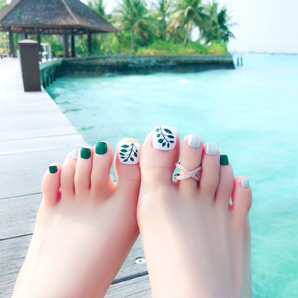 24 piezas de uñas postizas de pie para uñas de pies, bonitos dedos de los pies, herramienta de arte de los dedos de los pies, regalo de verano para mujeres: ...