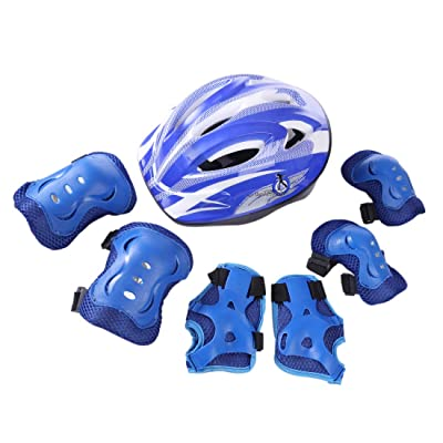 WOLFBUSH Kids Protective Gear, 7Pcs Skates Protective Gear Set Elbow Wrist Knee Pads and Helmet for Roller Skating, Skateboard, BMX, Scooter, Cycling Suitable for 5-11 Year-Old Children (Dark Blue) : Sports & Outdoors [5Bkhe1001833]