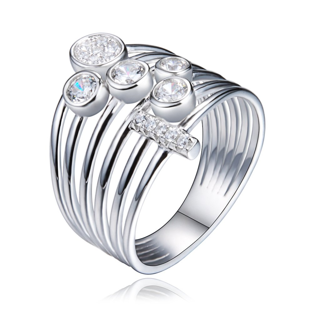 Rings Women Wedding Exquisite Simple style Fashion Accessories Fine Gift Silver Anniversary Size 6 7 8 (Size 8)