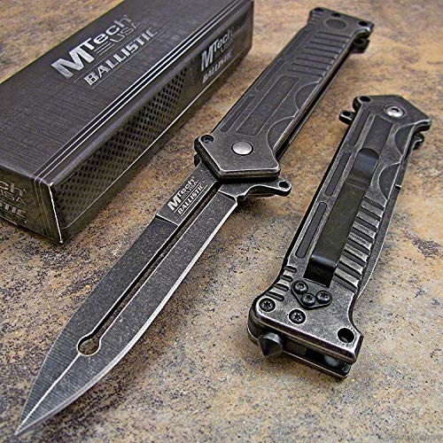 MTECH Tactical Stonewashed Dagger Spring Assisted Opening Rescue Pocket Knife