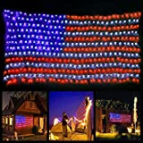 Twinkle Star American Flag 420 LED String Lights Large USA Flag Outdoor Lights Waterproof Hanging Ornaments for Independence Day, Festival Decoration (Red,Blue,White