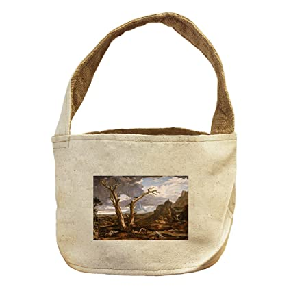 Elijah In Desert (Washington Allston) Canvas And Burlap Storage Basket