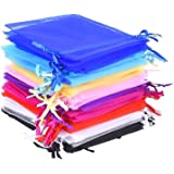 Mudder 50 Pieces 10 Colors Multi-Colored Organza Gift Bags Wedding Party Favor Bags Jewelry Pouches Wrap, 4.7 x 3.6 Inch