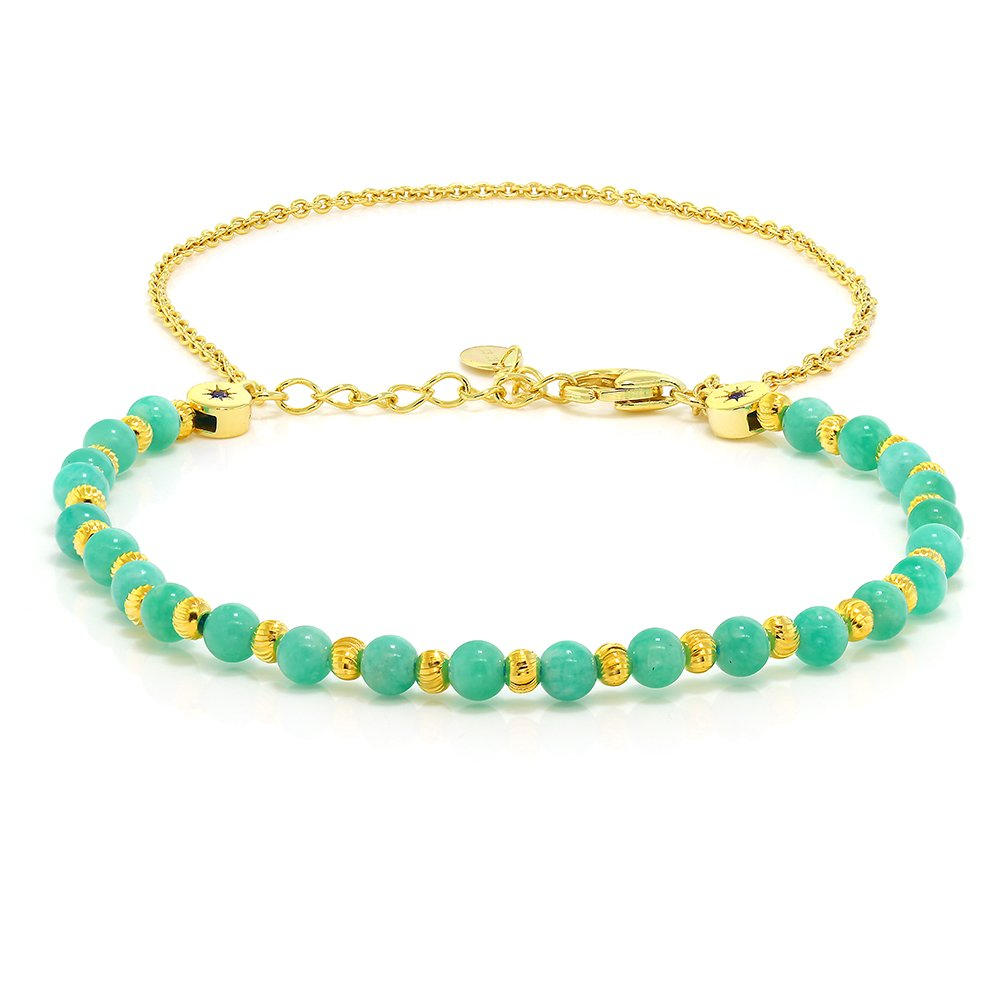 925 Sterling Silver 4MM Round Aquamarine Gold Plated Bracelet With Security  Chain  Amazon.ca  Jewelry ecb9ee4b7