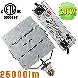 NUOGUAN ETL Listed 200W LED Shoebox Retrofit 25000 Lumens Mogul E39 Base Daylight 5000K External Meanwell Driver Replace 1000W Metal Halide Parking Lot Floodlight