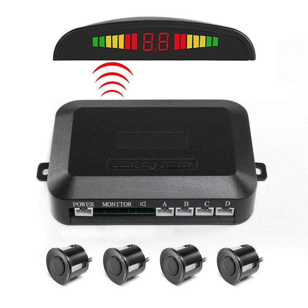 Capteur de stationnement, Funanasun 2,4 G sans Fil de Voiture vé hicule Inverse Radar de Sauvegarde Systè me Auto arriè re é cran LED Alerte avec 4 capteurs d'alarme/Sonnerie CC40658b