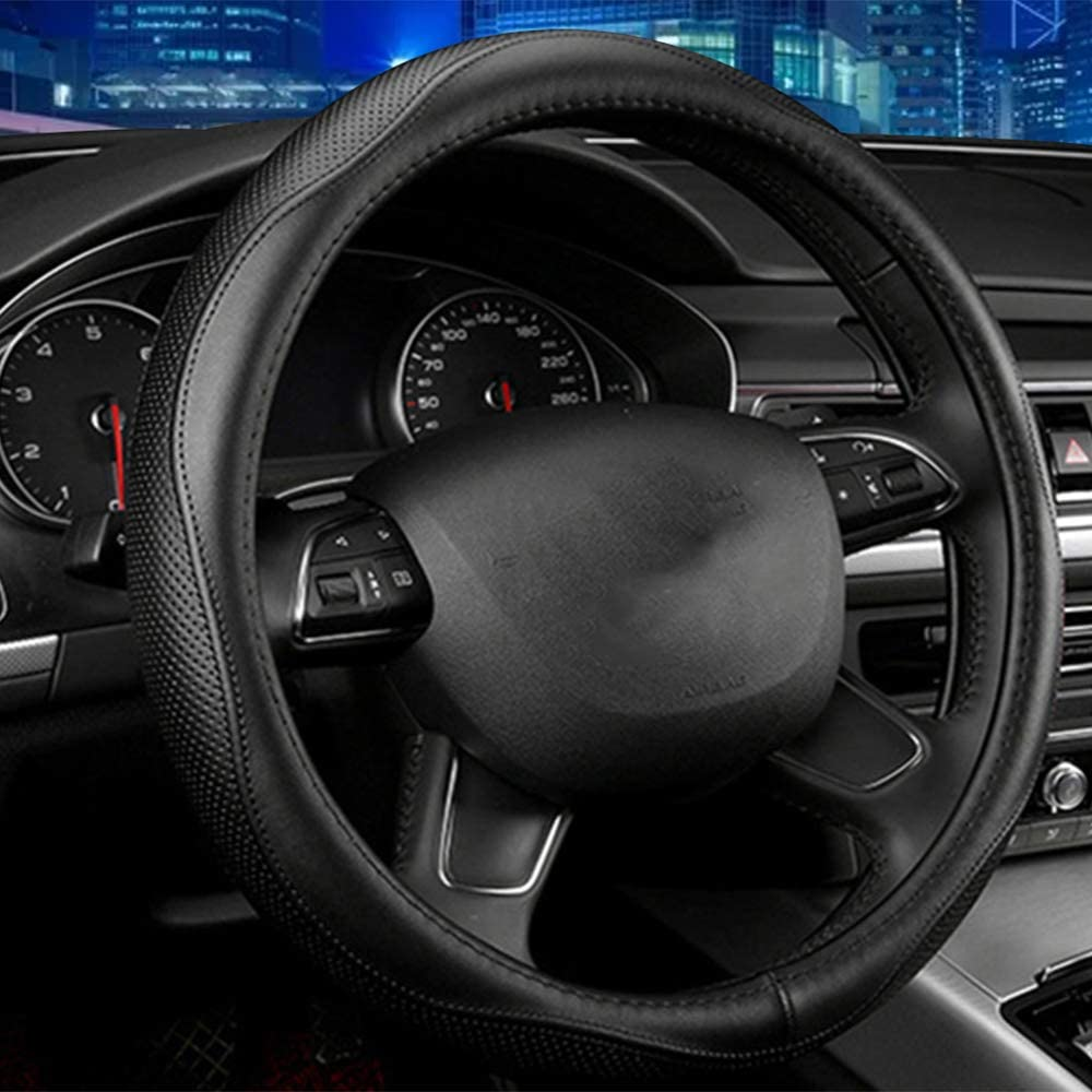Black Universal 15 inch Microfiber Leather Auto Car Steering Wheel Cover