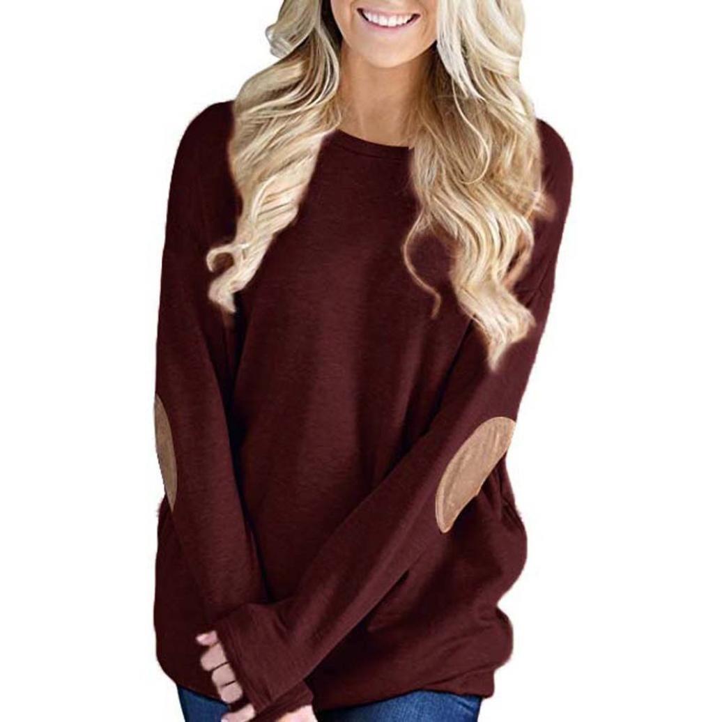FUNIC Women's Shirt, Women Loose Long Sleeve Solid Patchwork Bottom T-Shirt Blouse Tops FUNIC Women' s Shirt Funic-hoo03