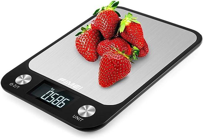 FIMEI Bilancia da Cucina Digitale,5kg//1g Bilancia Digitale Elettronica Alta Precisione Misurazione con LCD Display Acciaio Inossidabile 10kg//1g
