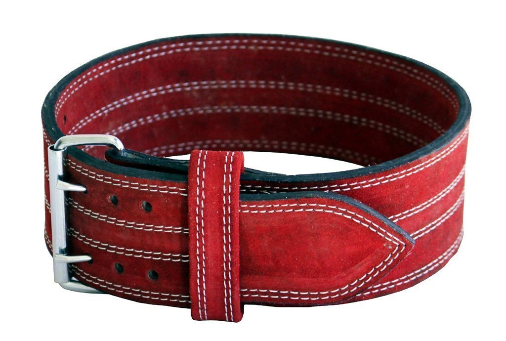 Ader Leather Power Lifting Weight Belt- 4'' Red (Large 35''- 40'')