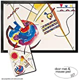 Set: 1 Door Mat Floor Mat (24x16 inches) + 1 Mouse Pad (9x7 inches) - Wassily Kandinsky, Watercolour from The Hess Guestbook, 1925