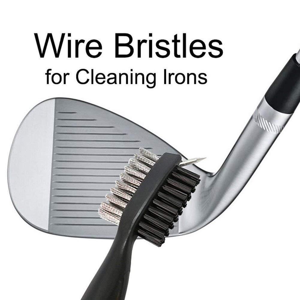 JZHY 2 Pack Golf Club cepillo ligero 2Ft cepillo de golf retráctil y Club Groove limpiador con Zip-line de aluminio Carabiner
