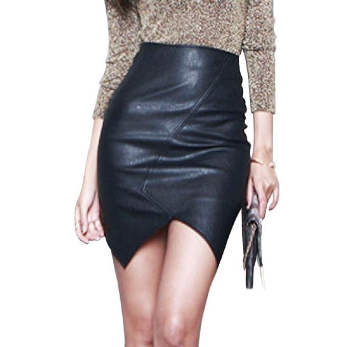 629bf8088 Moda Mujer Chic Falda de Corte A Falda Tubo Corta Talle Alto Mini ...