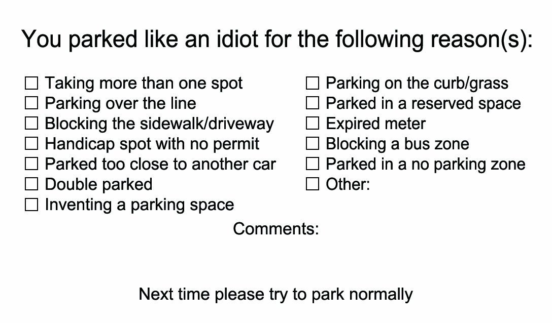 Amazon.com: You Parked Like an Idiot Business Cards - Bad Parking ...