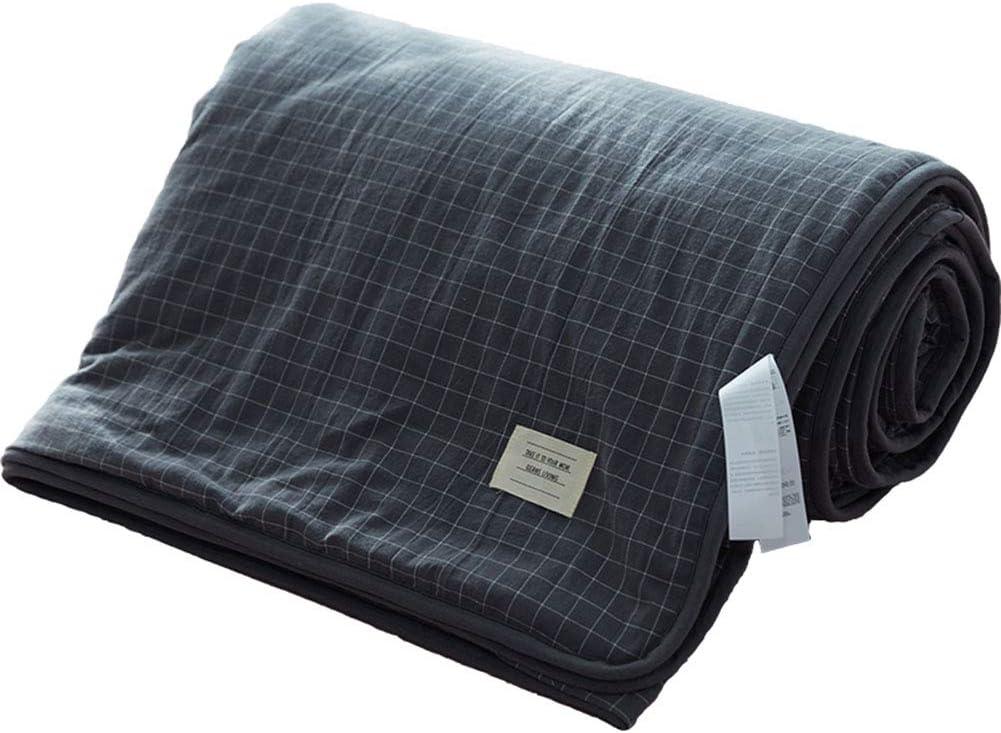 Summer Cool es MUJI algodón lavado cuatro piezas aire acondicionado de algodón es algodón individual doble Dormitorio Thin Quilt 1.5_m_bed_linen_is_set_in_four_sets_in_summer Small_gray: Amazon.es: Hogar
