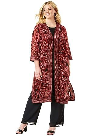 01e3d21087a46c Amazon.com  Roamans Women s Plus Size Duster   Pant 3-Piece Set  Clothing