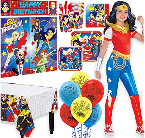 Warner Brothers Wonder Woman Birthday Party Kit,Girls,Includes Jumpsuit Costume 12-14,Tableware,Décor,Balloons,Serves 8 -