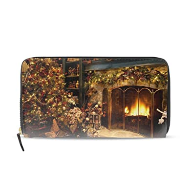 ca402f0a026c Women Printed Zip Around Wallet Christmas Fireplace Soft PU Phone ...