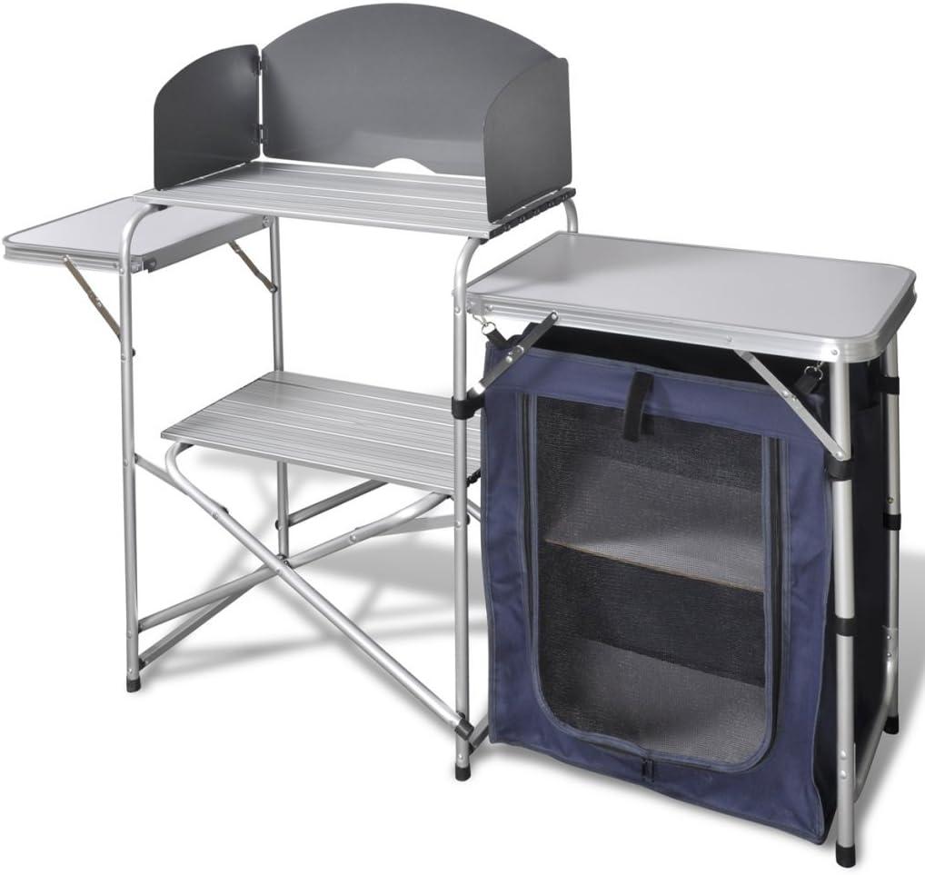 Anself Cocina de Aluminio Plegable para Camping, con Estantes y Rejilla