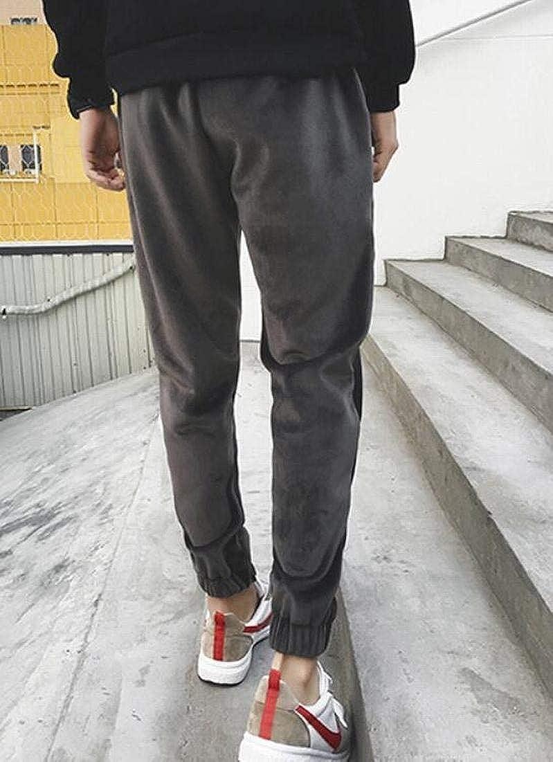 BYWX Men Autumn Velvet Closed-Bottom Fleece Thicken Slim Drawstring Tactical Pants