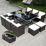 Apontus 11 pcs Wicker Rattan Patio Outdoor Dinning Cushion Seat