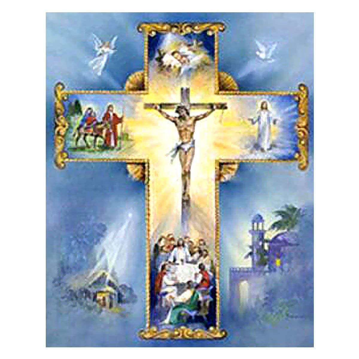 5D Full Drill Painting by Number Diamond Painting Kits for Home Decoration, 8x10 Inches Jesus Cross Rhinestone Embroidery Cross Stitch for Family Activities and Emotional Adjustment