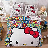 EKEA-Home® Funny Cute Cartoon Print Cozy Bedding Sets Collection - Deep Pockets,Wrinkle and Fade Resistant,Hypoallergenic, 4 PCS Set, Kt Dance, 1.5m/150x200cm/59.1'' x78.8