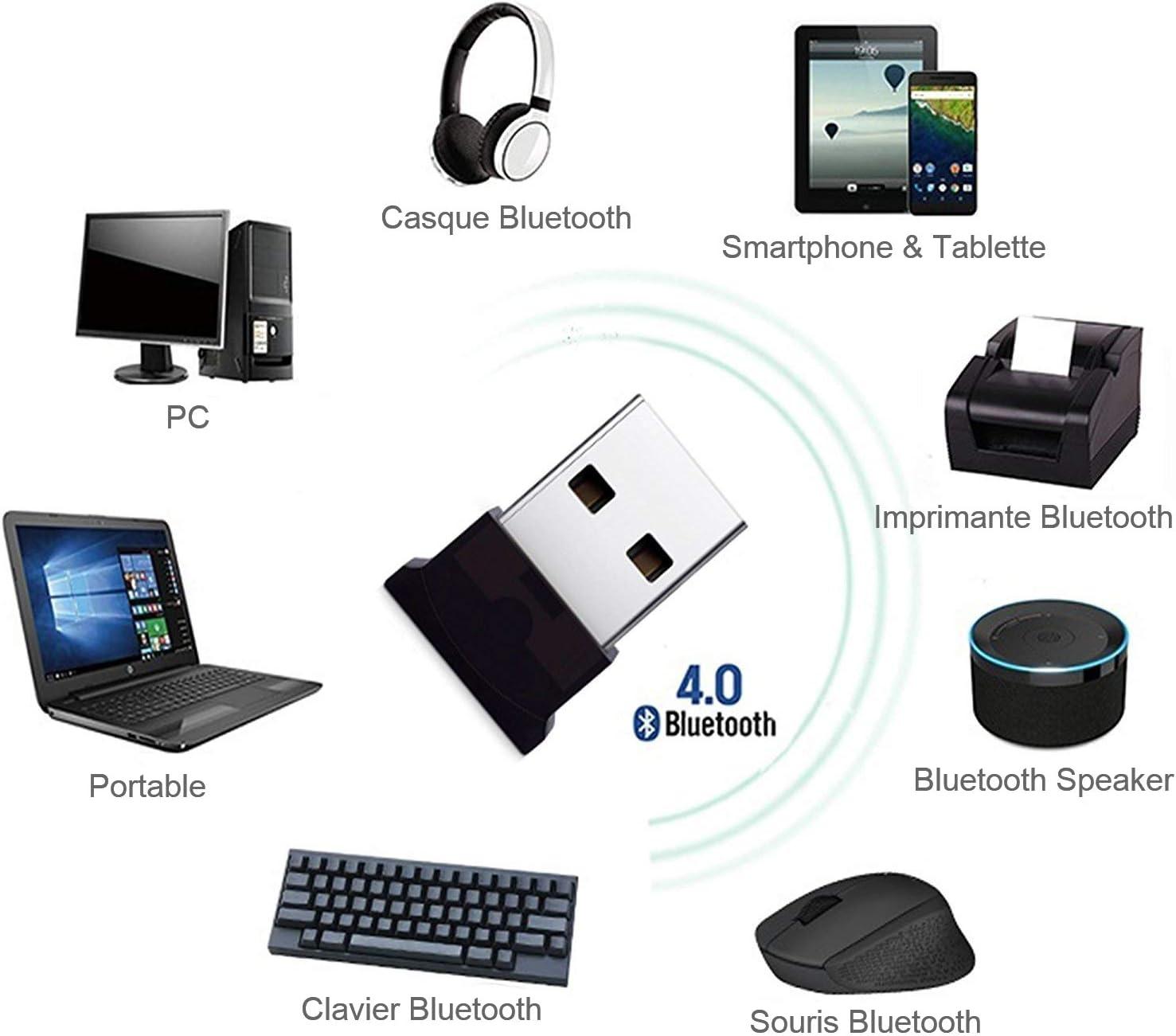 HANPURE Adaptateur USB Bluetooth 4.0, Clé Bluetooth, Plug & Play 2.4 Ghz, Parfait pour Casque Bluetooth, Souris, Clavier, Imprimantes, Ordinateurs,